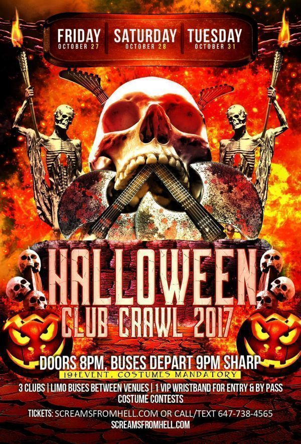 Halloween Club/Pub Crawl 2017 Toronto: Screams From Hell: Cube, Uniun, Rock n Horse, SET ON KING and More