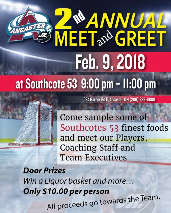 Meet & Greet The Ancaster Avalanche Junior Hockey Club