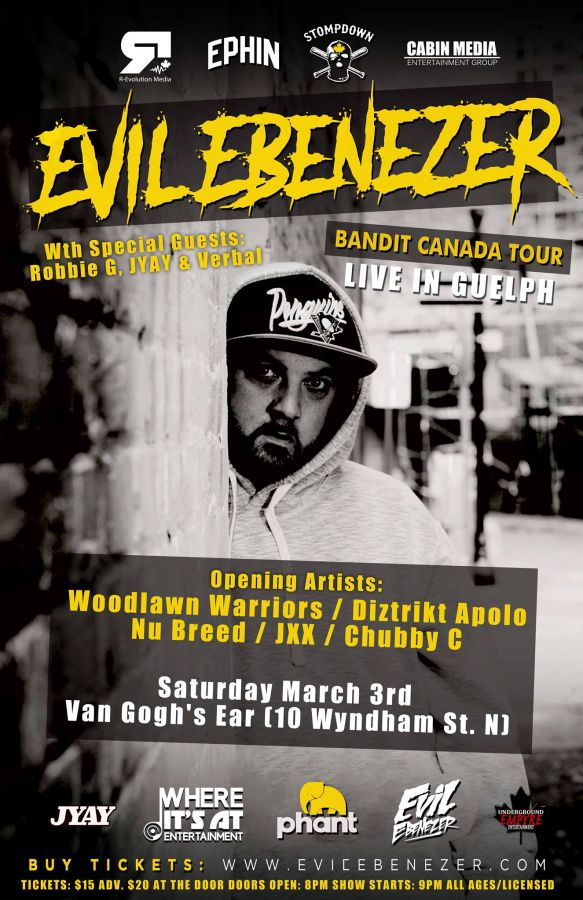 Evil Ebenezer Live in Guelph Saturday March 3rd at Van Gogh's Ear