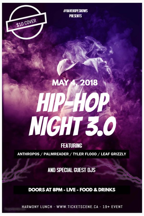 Harmony Hip Hop Night 3.0 ft Anthropos, Tyler Flood and more - Harmony Lunch