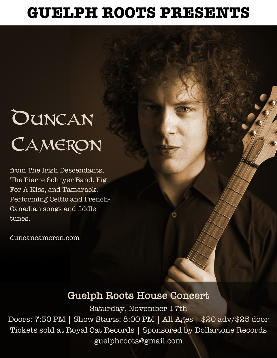 Duncan Cameron and special guest, a Guelph Roots presents,