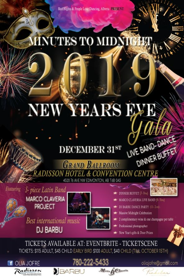 Minutes to Midnight 2019 New Year's Eve Gala - Radisson Hotel - Edmonton!