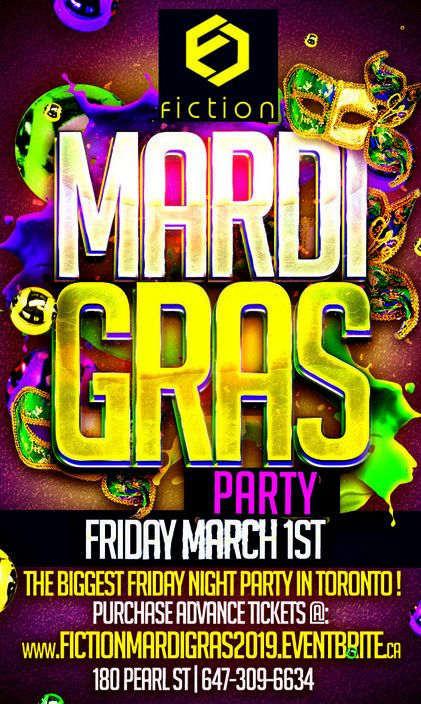 MARDI GRAS PARTY 2019 @ FICTION NIGHTCLUB | FRIDAY MARCH 1ST