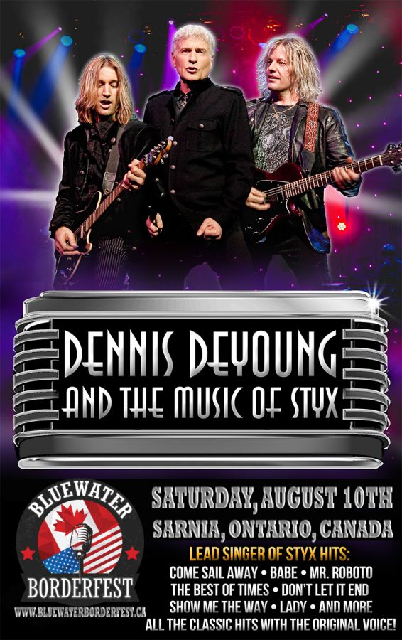 Bluewater BorderFest Sarnia Music Festival - Saturday, August 10th with: Dennis DeYoung and the music of STYX with Mark's Farner's American Band
