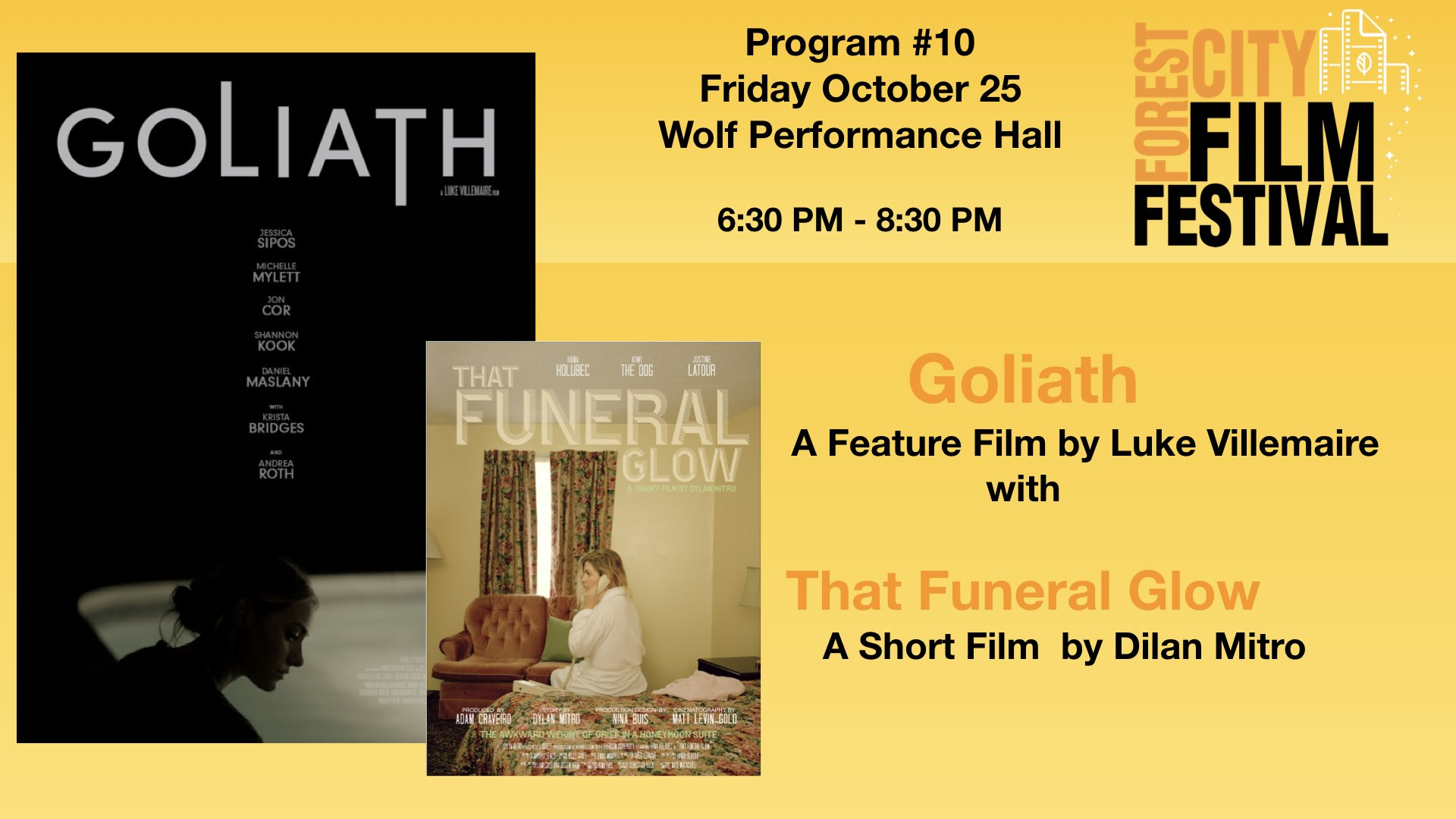 FCFF 2019 - Friday Early Evening at Wolf Program #10 - Goliath (feature), That Funeral Glow (short)