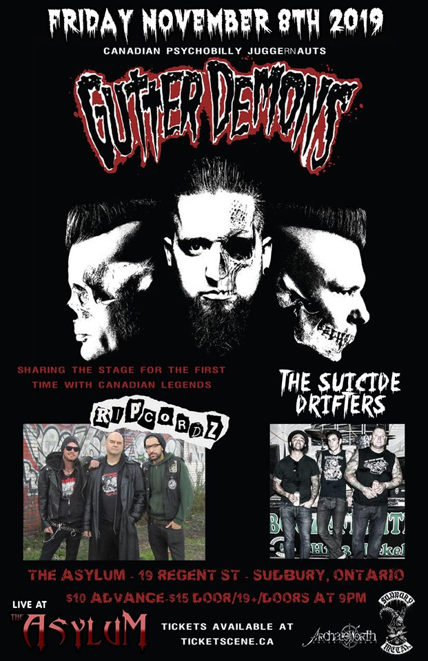 Gutter Demons, Ripcordz, The Suicide Drifters live in Sudbury