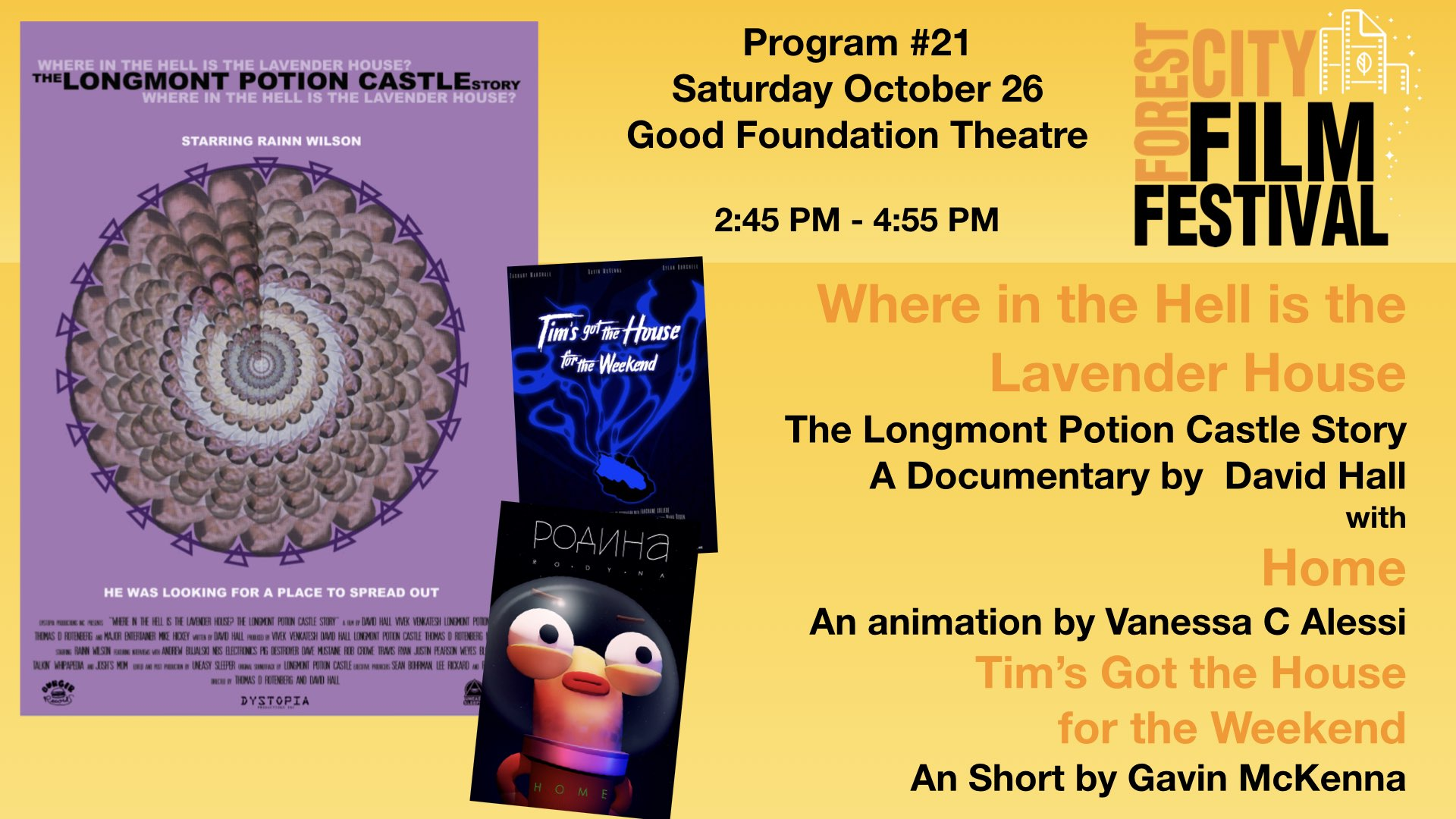 FCFF 2019 - Saturday Afternoon at Good Foundation Theatre #21- The Longmont Potion Castle Story & Home & Tim's got the House...