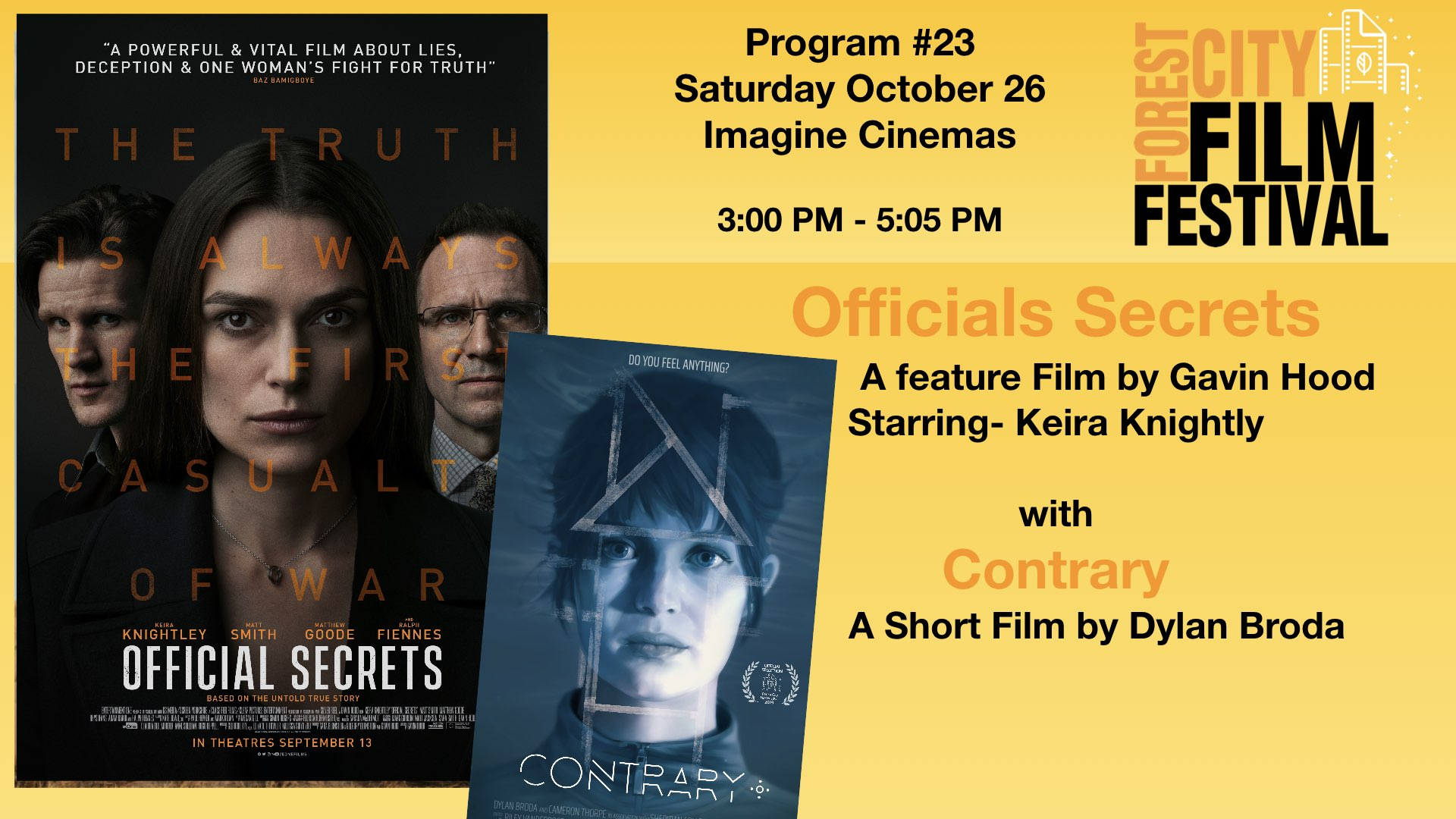 FCFF 2019 - Saturday Afternoon Imagine Program #23 - Official Secrets & Contrary