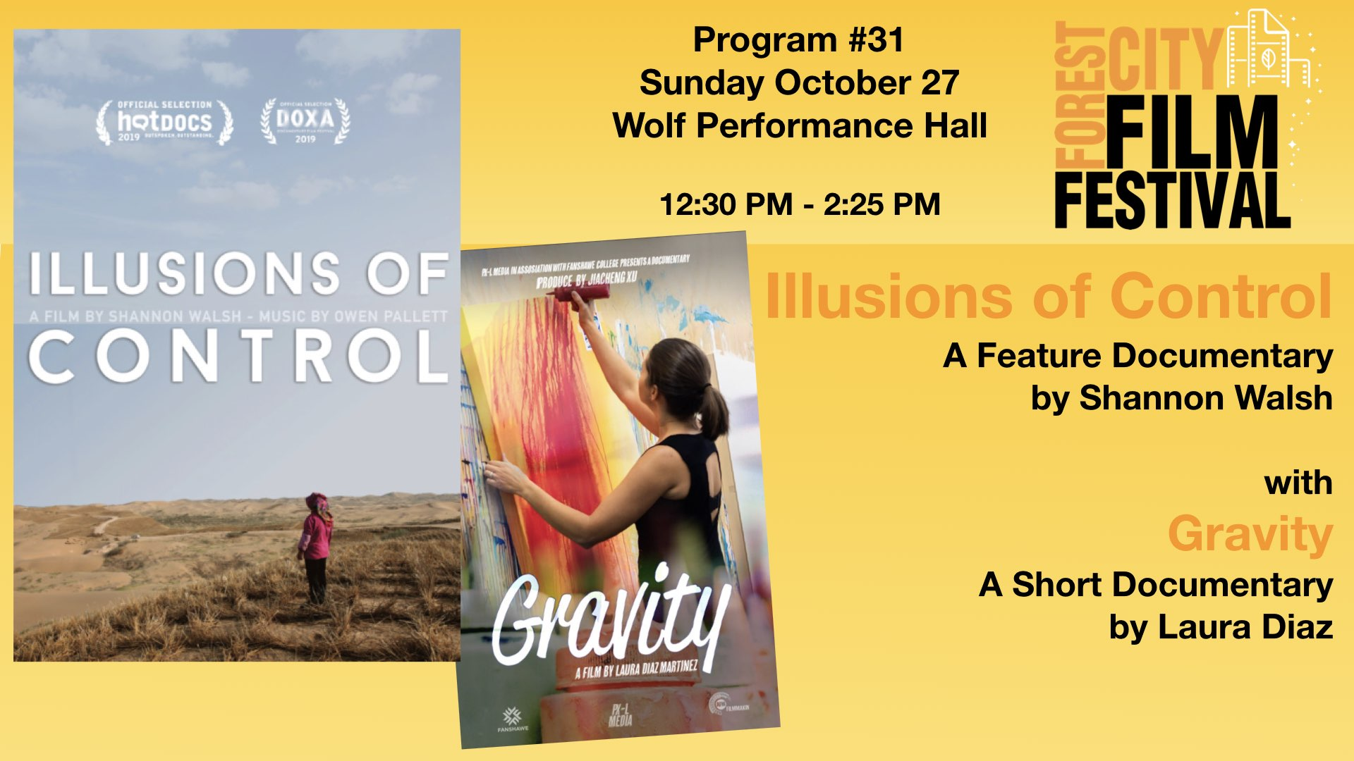 FCFF 2019 - Sunday Early Afternoon at Wolf, Program #31 - Illusions of Control and Gravity