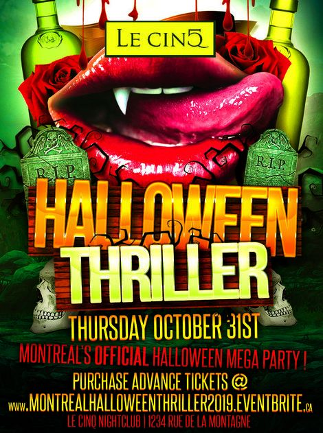 MONTREAL HALLOWEEN THRILLER 2019 @ LE CINQ NIGHTCLUB | MONTREAL'S OFFICIAL HALLOWEEN MEGA PARTY!