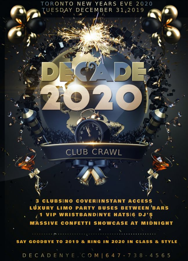 Toronto Decade Club Crawl New Year's Eve 2020 - NYE Parties, Events