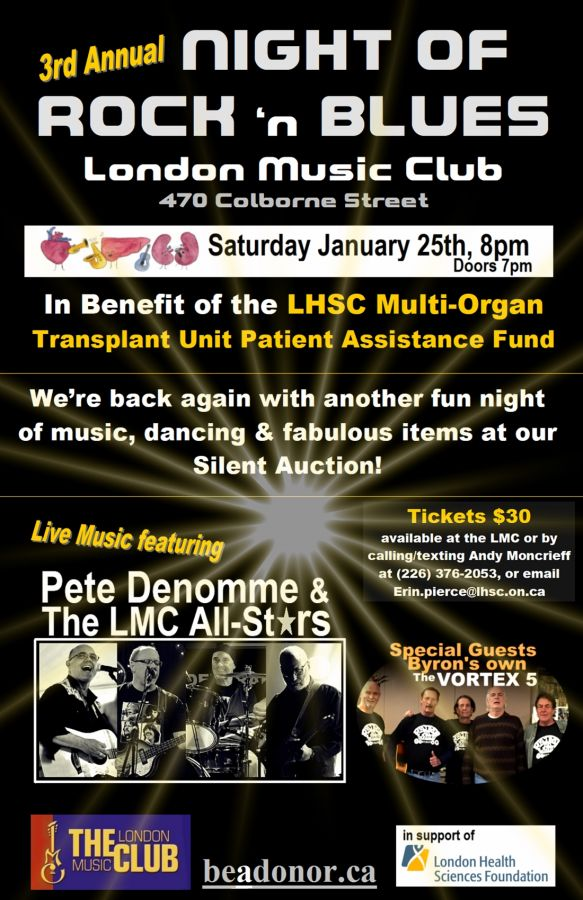 3rd Annual Night of Rock & Blues In benefit of the LHSC Multi-Organ Transplant Unit Patient Assistance Fund