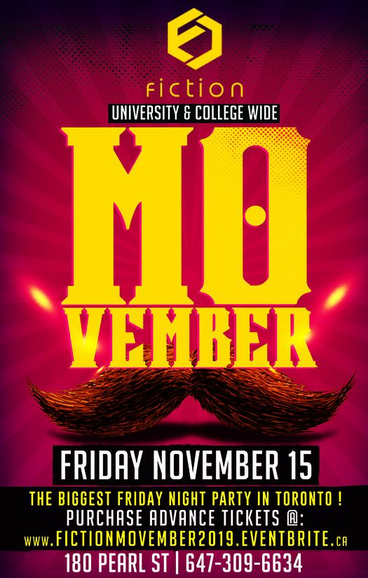 MOVEMBER MUSTACHE PARTY @ FICTION NIGHTCLUB | FRIDAY NOV 15TH