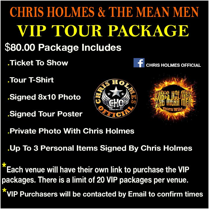 VIP Ticket - W.A.S.P's Chris Holmes & The Mean Men live in Sudbury
