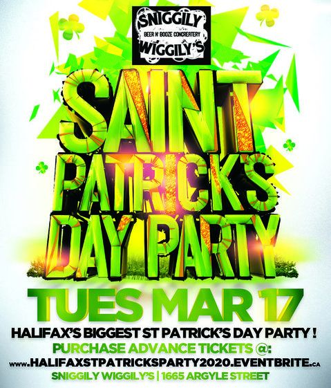 HALIFAX ST PATRICK'S PARTY 2020 @ SNIGGILY WIGGILY'S | OFFICIAL MEGA PARTY!