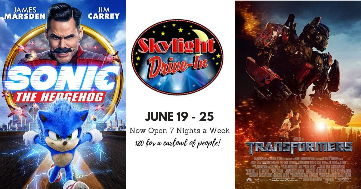Skylight Drive-In featuring Sonic The Hedgehog followed by Transformers