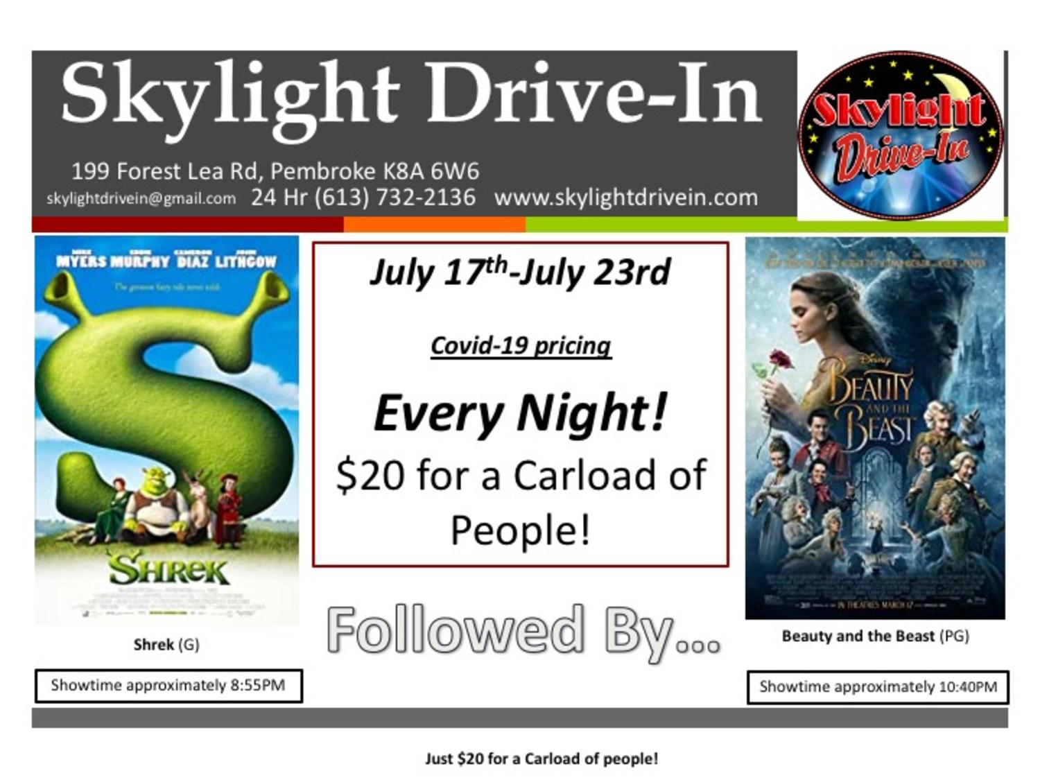 Skylight Drive-In featuring Shrek followed by Disney's Beauty And The Beast