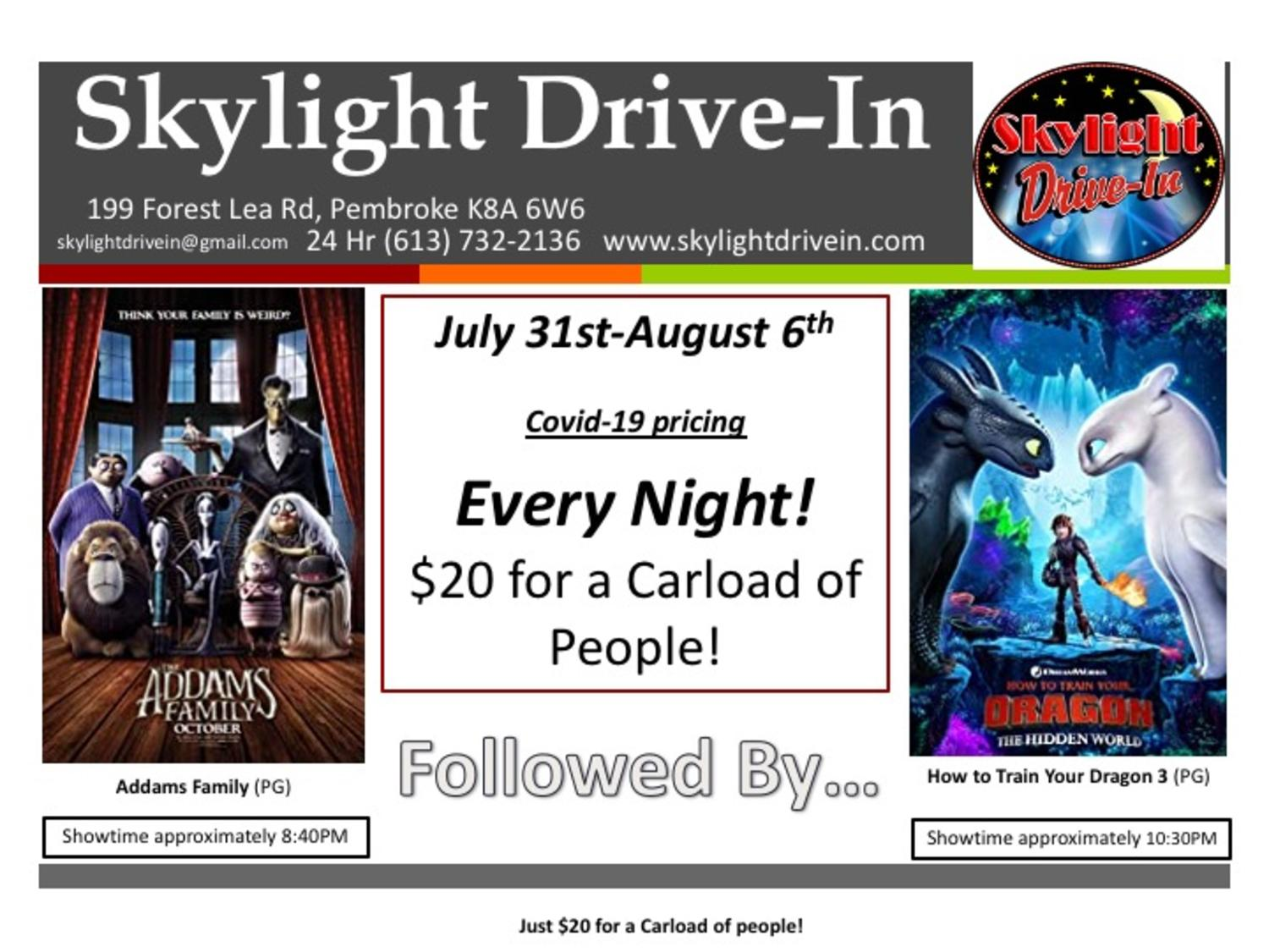 Skylight Drive-In featuring The Addams Family followed by  How To Train Your Dragon: The Hidden World