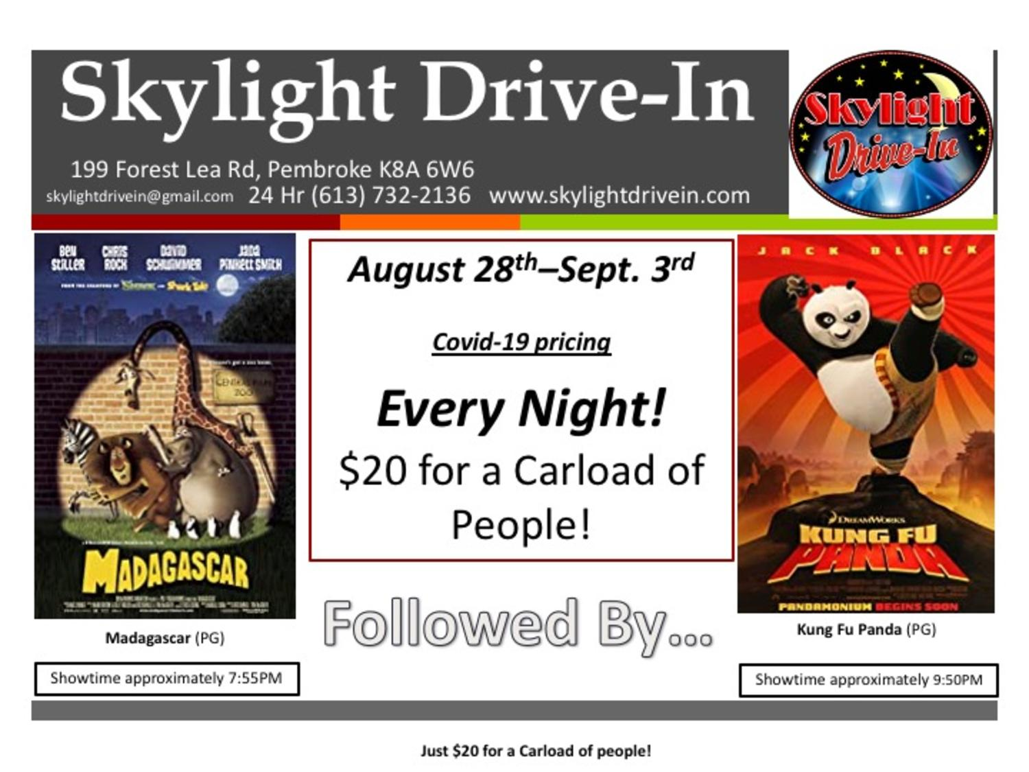 Skylight Drive-In - Madagascar followed by Kung Fu Panda