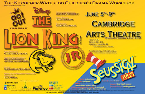 The Lion King Jr (Pride Rock Cast) with opening act  Seussical KIDS
